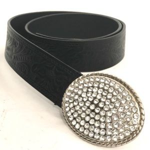 Accessories - Black Embossed Leather Belt with Rhinestone Buckle